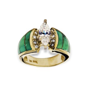 gold ring with inlay and diamonds