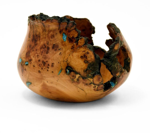 Aspen burl wood turning with truquoise inlay, side view