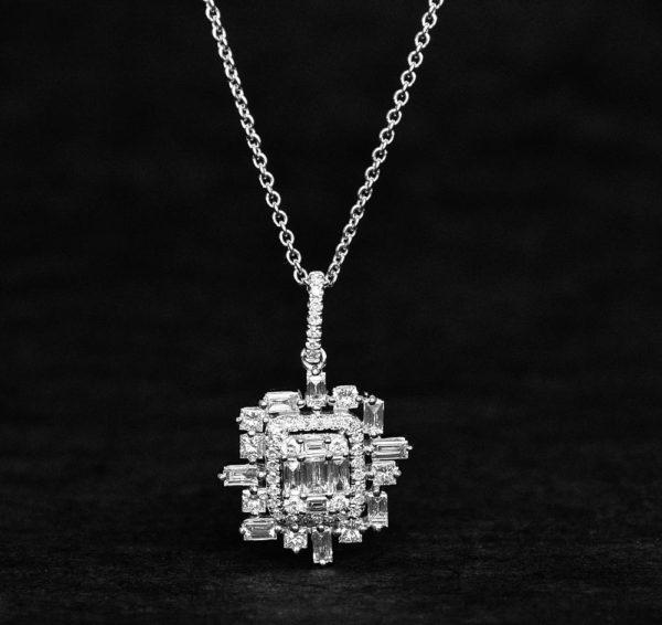Diamond and gold pendant