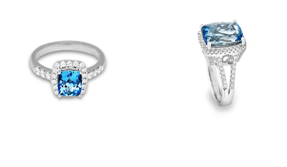 White gold rings with diamonds and aquamarine