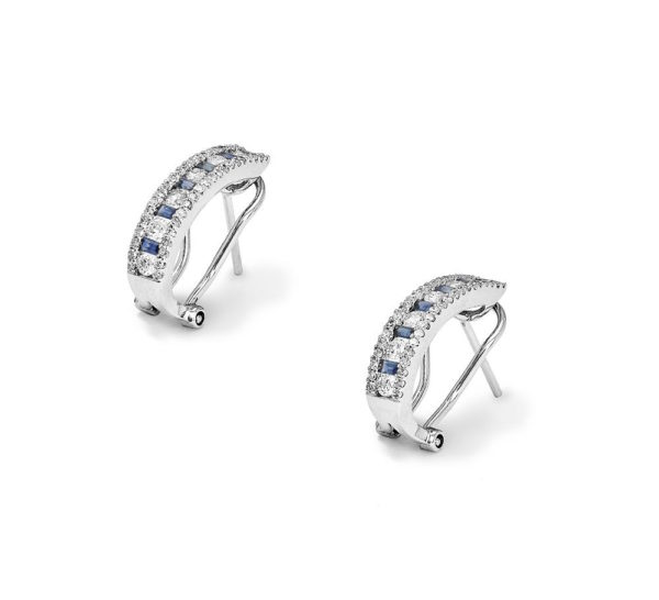 White gold earrings with aquamarine and diamonds