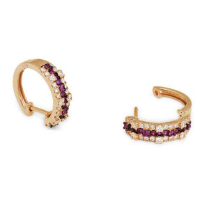 Earrings with diamonds and sapphires