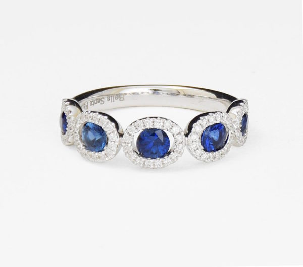 White gold ring with diamonds and aquamarine gemstones
